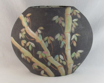 Charcoal Grey Pillow Vase with Asian Bamboo Design Motif - Vintage Hme Decor