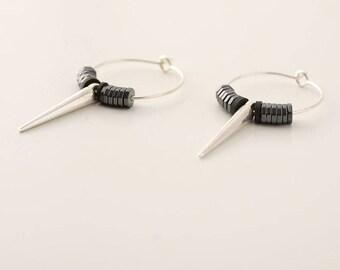 Silver Hoop Earrings Long Silver Spike Earrings, Hematite Earrings, Black Punk Earrings, Spike Hoop Earrings, Long Silver Gothic Earrings