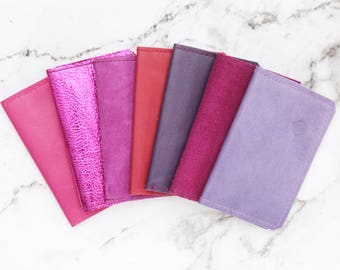 Natural leather credit card wallet. Business card case. Double credit card holder. Metallic leather wallet. Purple violet red pink bright.