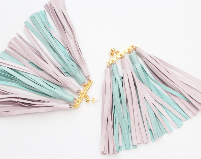 MOVEMENT 2 / Tassel earrings-oversized earrings-leather tassels-metal statement earrings-pastel shade-ethnical tribal earrings-Ready to Ship