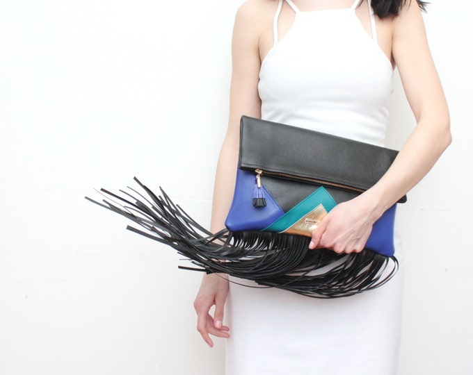CARRIER 2 / Large fringe leather purse- clutch bag-bohemian purse-oversized leather bag-black metallic bag-black teal gold-Ready to Ship