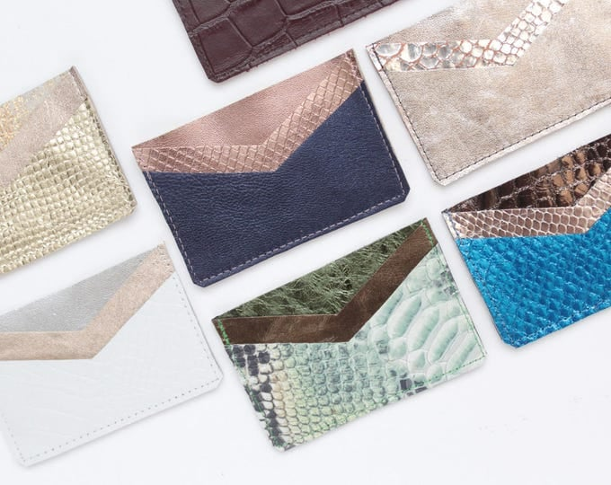 Natural leather credit card case-business card holder-three pocket card wallet-leather wallet-snake reptile texture-metallics -Ready to Ship