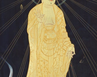 Vintage Buddhist Fine Art Wall Hanging Scroll Painting Amida Buddha kakejiku – 1607027