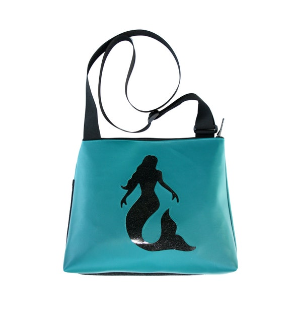 Mermaid, black, blue vinyl, glitter vinyl, vegan, vegan leather, large, cross body bag