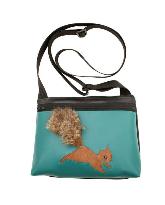 Squirrel, fake fur, turquoise vinyl, boxy cross body, vegan leather, zipper top