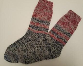 Hand Knitted Wool Socks For Men-Colorful socks-Size Large US 11,5,EU45 -Wool Socks -Hand Knitted Socks
