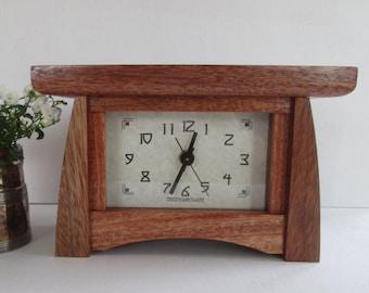 Mantel Clock, Mahogany Wood Clock, Bungalow Clock, Craftsman Clock, Mantle Clock of Mahogany, Mahogany
