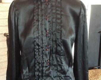 Amazing 1930s Black Silk Blouse!! Size Medium!
