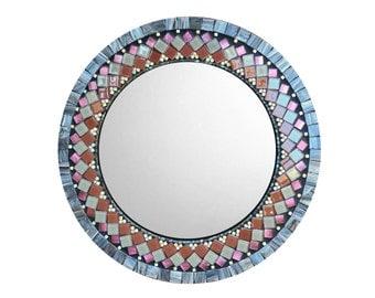Mosaic Wall Mirror, Round Mirror, Geometric Pattern, Modern Home Decor