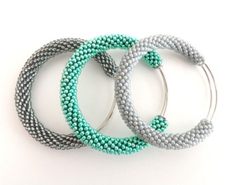 Grey Bangle Bracelets/Mint Green Bangle/Pastel Bracelets Set/Beaded Accessories/Crocheted bracelets/Bangles Tris