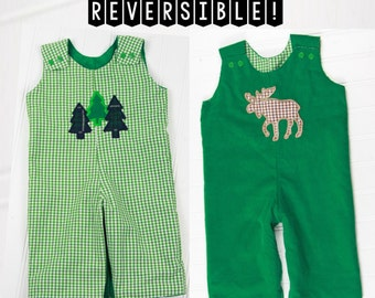 Winter Overalls for Boys - Reversible Baby Boy Outfit - Forest Trees Moose Applique - Gingham Green Romper for Toddler Boy - Corduroy Outfit