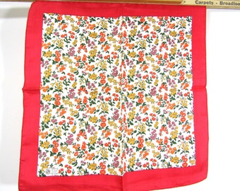 Beautiful Vintage Liberty of London Red Floral Silk Scarf  NOS