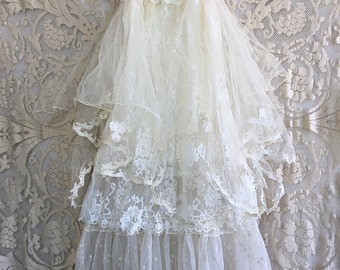 Ivory & white organdy tulle lace boho wedding dress by mermaid miss k