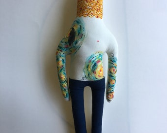 NEW: Large sized Vincent Van Gogh- Starry Night- Tattoo Sleeve- Plush Doll- art doll- softie- ready to ship - Vintage Artist