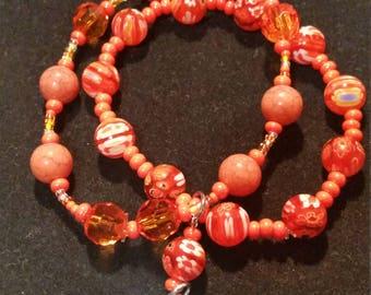 Orange Heart Charm Bracelet