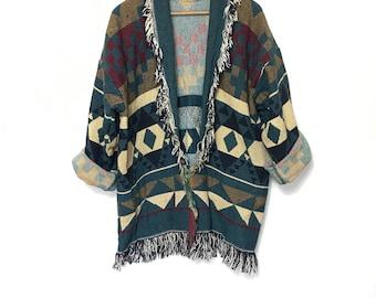 Vintage 80's Southwest Jacket Blanket Jacket Fringe Tribal Coat Large Slouchy Oversized Jacket Minimalist Ethnic 90s Woven Plus Size  XL H