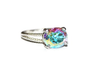 Mercury Mist Topaz Ring, Ring With Oval Stone Anniversary Ring, East West Ring