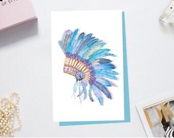 Native American Headdress Greeting Card Tribal Art Print Crystal Embellished Handcrafted Card Native American Art Boho Card Birthday Card