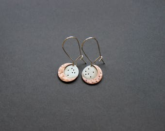 Handcrafted Moon Star Dangle Earrings - Mixed Metal - Sterling Silver/Cooper - Dangle Earrings - Moon Jewelry