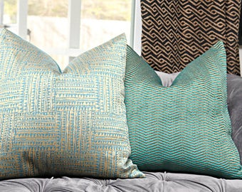 Peacock Green and Gold Woven Tribal Geometric Pillow - Teal Green Pillow Cover - Throw Pillow - Bohemian Decor - Mid Century