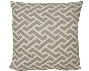 Quadrille Aga Reverse Pillow Cover in Taupe