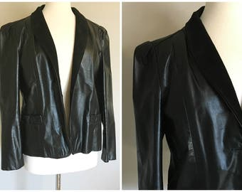Vintage BLACK LEATHER TUX Jacket/Size Medium-Large