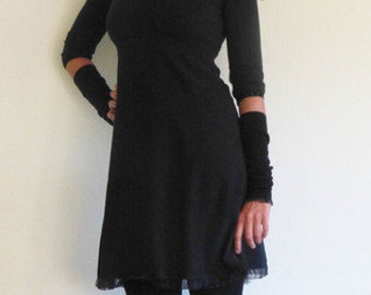 Empire dress 3/4-sleeves, A form, warm,