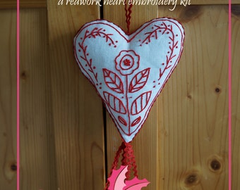 Swedish Heart: A Redwork Embroidery Kit, Valentine's Gift, DIY Gift for Crafters, Embroidery Kit