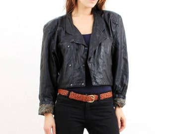 80s Leather Jacket / Vintage Jacket / Black Leather Jacket / Crop Leather Jacket / Large Leather Jacket /