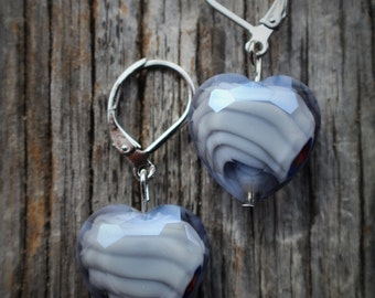 Free Shipping on Fluted Glass Heart Earrings