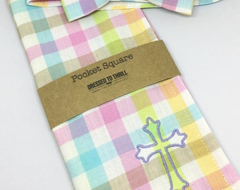Easter Pastel Plaid Bowtie & Pocket Square Set, Easter Plaid bow tie, Pastel Easter Bow Tie, Monogrammed Easter Pocket Square, Easter Tie
