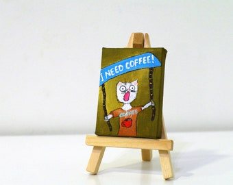 Coffee painting Tiny art - original coffee paintings - coffee art - kitchen art - original painting - kitchen decor - coffee artwork
