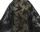2 yards - Black Embroidered Chiffon, Flowy Fabric, Patterened Chiffon, Remnant Fabric, Black Material, Black Flowy Material