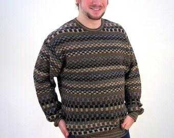 90s Coogi Style Sweater, Merino Wool Sweater, Merino Wool Pullover Sweater, Cosby Sweater, XL