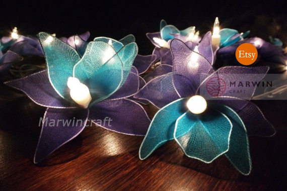 Battery or Plug 20 Blue Purple Orchid Flower Fairy String Lights Hanging Party Patio Wedding Garland Gift Home Living Bedroom Holiday Decor