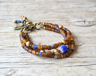 Bohemian bracelet, beaded boho bracelet, hippie gypsy tribal jewelry, gift for her, multi layer bracelet
