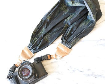 The 'Lee' Grey Scarf Camera Strap with Quick Release Buckles -- 1.5- 2 inches wide