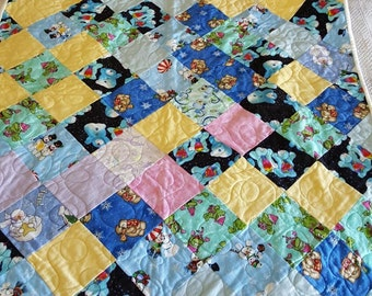 Baby Quilt - Wintery flannel - very soft and warm
