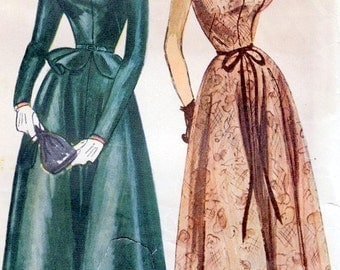 """Vintage 1949 Simplicity 2706 One-Piece Dress With Detachable Peplum Sewing Pattern Size 16 Bust 34"""""""
