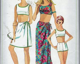 Vintage 1966 Simplicity 6547  Sarong Skirt In Two Lengths & Two-Piece Bathing Suit Sewing Pattern Size 12 Bust 32""