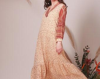 Bohemian Indian Silk dress,Hippie Boho wedding dress,Flowy dress,Boho dress,Bohemian wedding dress,Color wedding dress,Beach wedding dress