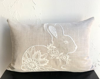 Spring Bunny Pillow Covers, 12x18 Embroidered Lace Pillow Covers, Easter Rabbit Lumbar Pillows, Natural Linen Pillows Covers, Easter Pillow