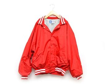 80s Red Bomber Jacket Men's XXL Snap Up Athletic Nylon