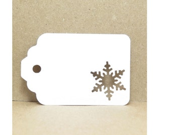 Snowflake Tag,  White Gift Tags, Cardstock Tags, Christmas Tags, Plain Gift Tags, Gift Tags, Holiday Gift Tags, Snowflake Gift Tags