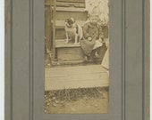 Vintage Snapshot Mounted [Cabinet] Photo: Boy and Dog, Early 1900s (72550)