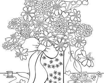 Floral Bouquet Coloring Page for Adults, Zinnia Bouquet in Vase, To You With Love, Color Your Own, 8x10, For Colorists, Digital File
