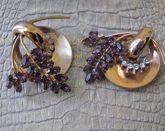 1940's CORO CRAFT Sterling Silver Gilt Gold Brooch Set. Rhinestone Clear & Amethyst Crystals, Rose Pink Gilt Gold on Silver. Retro Statement