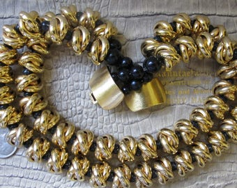 NECK COLLAR: Statement Designer Jay Feinberg Gold Knot & Black Bead Double Strand Nesting Necklace, Fine Quality 1980's Fashion Jewelry GOLD