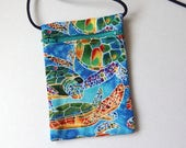 """Pouch Zip Bag Rainbow SEA TURTLE Fabric. Great for walkers markets travel.  Cell Phone Pouch. Many uses. Small blue fabric Purse. 6.75""""x4.5"""""""
