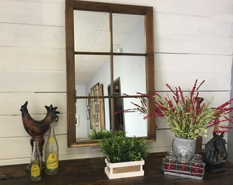 Wood Mirror, Window Pane Mirror, Narrow Mirror, Decorative Wood Mirror, Brown Wood Mirror, Wall Mirror, Decorative Mirror, Entry Wall Mirror